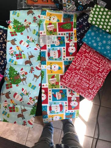 (Left to Right) Christmas 1, Christmas 2, Happy Holidays, Blue Snowflake, Green Polka Dot Large