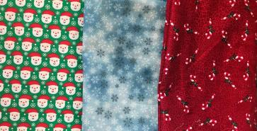 (Left to right) Santa, Snowflakes, Candy Canes